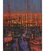 Anacapa Marina at Night 12x16 ** SOLD **