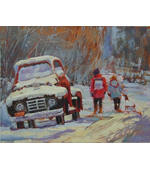 Going Sledding 14x11  Private Collection
