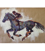 Horse and Jockey 1 oil on brown paper.20x24