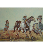 Running with the Horses 20x16 oil on canvas