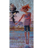 Yyoung Girl With Magpie 20x10